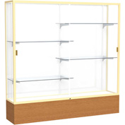 "Reliant Display Case Carmel Oak Base, Gold Frame, White Back 72""W x 16""D x 72""H"