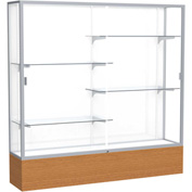 "Reliant Display Case Carmel Oak Base, Satin Frame, White Back 72""W x 16""D x 72""H"