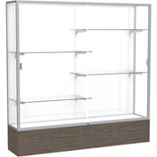 "Reliant Display Case Walnut Vinyl Base, Satin Frame, White Back 72""W x 16""D x 72""H"