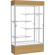"Reliant Lighted Display Case 48""W x 80""H x 16""D Natural Oak Base Mirror Back Satin Natural Frame"