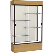 "Reliant Lighted Display Case 48""W x 80""H x 16""D Natural Oak Base Plaque Back Dark Bronze Frame"