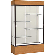 "Reliant Lighted Display Case 48""W x 80""H x 16""D Carmel Oak Base Plaque Back Dark Bronze Frame"