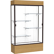 "Reliant Lighted Display Case 48""W x 80""H x 16""D Natural Oak Base White Back Dark Bronze Frame"