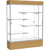 "Reliant Lighted Display Case 60""W x 80""H x 16""D Natural Oak Base Mirror Back Satin Natural Frame"