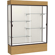 "Reliant Lighted Display Case 60""W x 80""H x 16""D Natural Oak Base Plaque Back Dark Bronze Frame"