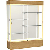 "Reliant Lighted Display Case 60""W x 80""H x 16""D Natural Oak Base Plaque Back Champagne Frame"