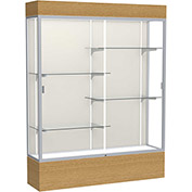 "Reliant Lighted Display Case 60""W x 80""H x 16""D Natural Oak Base Plaque Back Satin Natural Frame"