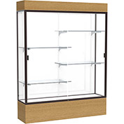 "Reliant Lighted Display Case 60""W x 80""H x 16""D Natural Oak Base White Back Dark Bronze Frame"