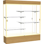 "Reliant Lighted Display Case 72""W x 80""H x 16""D Natural Oak Base Mirror Back Champagne Frame"