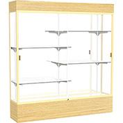 """Reliant Lighted Display Case 72""""W x 80""""H x 16""""D Light Oak Base Mirror Back Champagne Frame"""