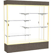 """Reliant Lighted Display Case 72""""W x 80""""H x 16""""D Walnut Base Mirror Back Champagne Frame"""