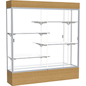 "Reliant Lighted Display Case 72""W x 80""H x 16""D Natural Oak Base Mirror Back Satin Natural Frame"