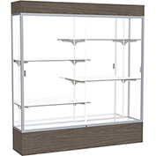 """Reliant Lighted Display Case 72""""W x 80""""H x 16""""D Walnut Base Mirror Back Satin Natural Frame"""