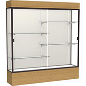 "Reliant Lighted Display Case 72""W x 80""H x 16""D Natural Oak Base Plaque Back Dark Bronze Frame"