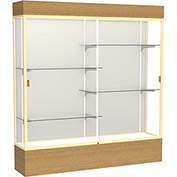 "Reliant Lighted Display Case 72""W x 80""H x 16""D Natural Oak Base Plaque Back Champagne Frame"