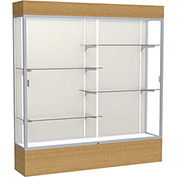 "Reliant Lighted Display Case 72""W x 80""H x 16""D Natural Oak Base Plaque Back Satin Natural Frame"