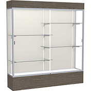 """Reliant Lighted Display Case 72""""W x 80""""H x 16""""D Walnut Base Plaque Back Satin Natural Frame"""