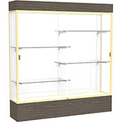 """Reliant Lighted Display Case 72""""W x 80""""H x 16""""D Walnut Base White Back Champagne Frame"""