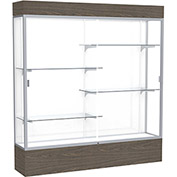 "Reliant Lighted Display Case 72""W x 80""H x 16""D Walnut Base White Back Satin Natural Frame"