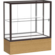 "Reliant Counter Case, Mirror Back, Dark Bronze Frame, Autumn Oak Base, 36""L x 40""H x 14""D"
