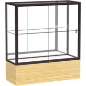 "Reliant Counter Case, Mirror Back, Dark Bronze Frame, Light Oak Vinyl Base, 36""L x 40""H x 14""D"