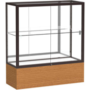 "Reliant Counter Case, Mirror Back, Dark Bronze Frame, Carmel Oak Base, 36""L x 40""H x 14""D"