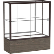 "Reliant Counter Case, Mirror Back, Dark Bronze Frame, Walnut Vinyl Base, 36""L x 40""H x 14""D"