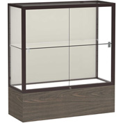 "Reliant Counter Case, Plaque Back, Dark Bronze Frame, Walnut Vinyl Base, 36""L x 40""H x 14""D"