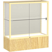 "Reliant Counter Case, Plaque Back, Champagne Gold Frame, Light Oak Vinyl Base, 36""L x 40""H x 14""D"