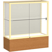 "Reliant Counter Case, Plaque Back, Champagne Gold Frame, Carmel Oak Base, 36""L x 40""H x 14""D"