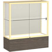 "Reliant Counter Case, Plaque Back, Champagne Gold Frame, Walnut Vinyl Base, 36""L x 40""H x 14""D"