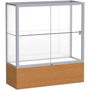 "Reliant Counter Case, White Back, Satin Frame, Carmel Oak Base, 36""L x 40""H x 14""D"