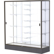 "Colossus Floor Case, White Back, Dark Bronze Frame, 60""L x 66""H x 20""D"