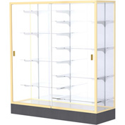 "Colossus Floor Case, White Back, Champagne Gold Frame, 60""L x 66""H x 20""D"