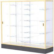 "Colossus Floor Case, White Back, Champagne Gold Frame, 72""L x 66""H x 20""D"