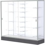 "Colossus Floor Case, White Back, Satin Frame, 72""L x 66""H x 20""D"