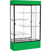 "Spirit Lighted Display Case 48""W x 80""H x 16""D Mirror Back Dark Bronze Kelly Green Base & Top"
