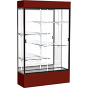 "Spirit Lighted Display Case 48""W x 80""H x 16""D Mirror Back Dark Bronze Maroon Base & Top"