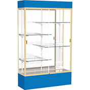 "Spirit Lighted Display Case 48""W x 80""H x 16""D Mirror Back Champagne Royal Blue Base & Top"