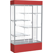 "Spirit Lighted Display Case 48""W x 80""H x 16""D Mirror Back Satin Red Base & Top"