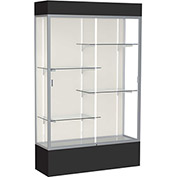 "Spirit Lighted Display Case 48""W x 80""H x 16""D Plaque Back Satin Finish Black Base & Top"