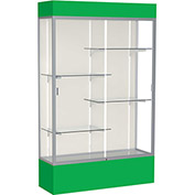 "Spirit Lighted Display Case 48""W x 80""H x 16""D Plaque Back Satin Finish Kelly Green Base & Top"