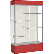 "Spirit Lighted Display Case 48""W x 80""H x 16""D Plaque Back Satin Finish Red Base & Top"