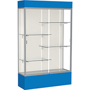 "Spirit Lighted Display Case 48""W x 80""H x 16""D Plaque Back Satin Finish Royal Blue Base & Top"