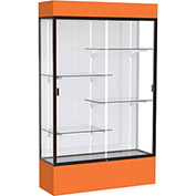 "Spirit Lighted Display Case 48""W x 80""H x 16""D White Back Dark Bronze Orange Base & Top"