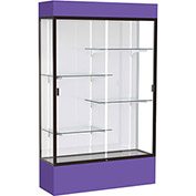 "Spirit Lighted Display Case 48""W x 80""H x 16""D White Back Dark Bronze Purple Base & Top"