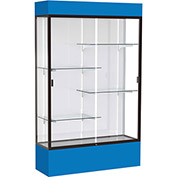 "Spirit Lighted Display Case 48""W x 80""H x 16""D White Back Dark Bronze Royal Blue Base & Top"