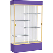 "Spirit Lighted Display Case 48""W x 80""H x 16""D White Back Champagne Purple Base & Top"