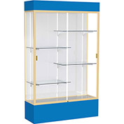 "Spirit Lighted Display Case 48""W x 80""H x 16""D White Back Champagne Royal Blue Base & Top"