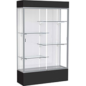 "Spirit Lighted Display Case 48""W x 80""H x 16""D White Back Satin Finish Black Base & Top"